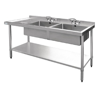Stainless Steel Double Bowl Sink Left Hand Drainer 1800mm